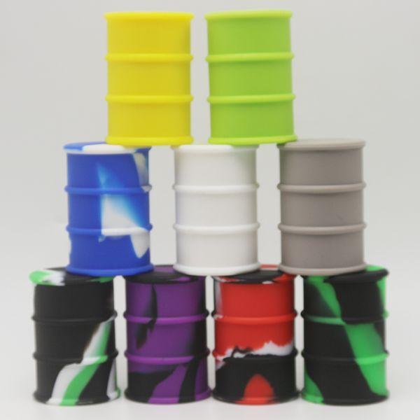 Barattolo di silicone Barrel Container Jars Dab Wax Vaporizzatore Olio di gomma tamburo forma Container 26ml Grande silicio Jar Bong Dabber Strumento
