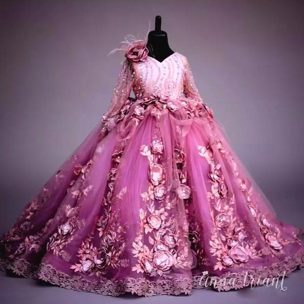 Cuentas de lujo de las muchachas de la flor se visten de encaje apliques de manga larga flor hecha a mano de las muchachas del desfile vestido de bola de tul mullido vestido de cumpleaños vestido