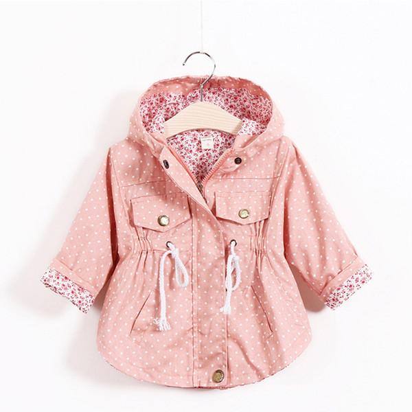 ef83314771adc Printemps Automne Veste Bébé Fille Mode Coton Polka Dot Imprimer Manteau  Enfants Fille Floral Zipper Coupe