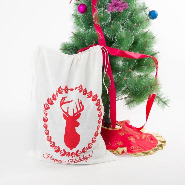 4 Styles Christmas Gift Bags Drawstring Bundle Package Present Wrap Storage Bag Container Party Favor Supplies NNA449