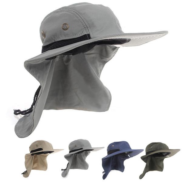 Casual Neck Flap Boonie Hat Fishing Hiking Safari Outdoor 4 Colors Sun Brim Bucket Bush Cap