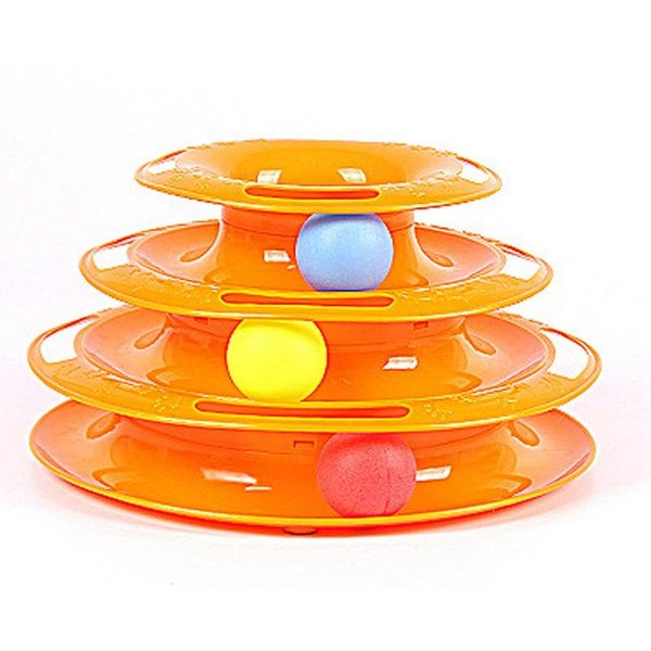 Trilaminar Turntable Cat Toy Funny Pet Toys Cat Crazy Ball Disk Interactive Amusement Plate Play Disc