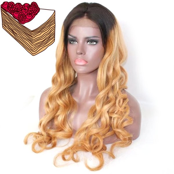 Long lasting full lace human hair with baby hair 100% unprocessed remy long honey blonde ombre color body wave for women