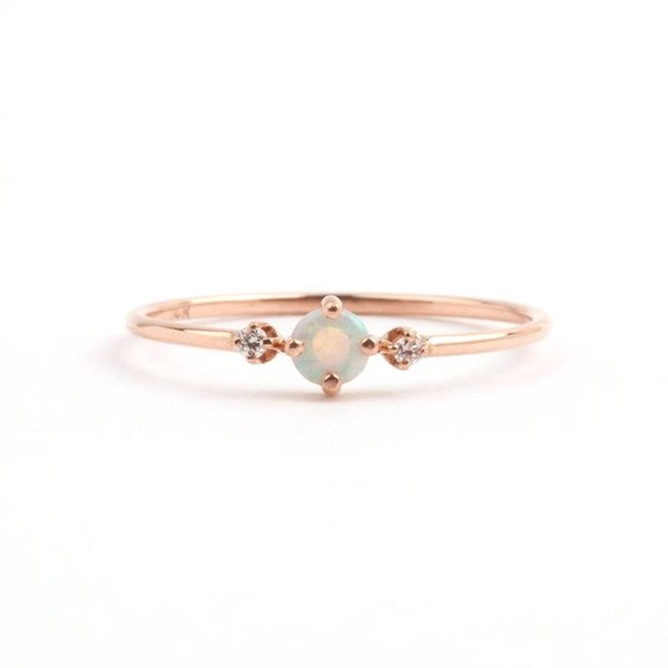 Simple Charming Opal Ring for Women Size 6-10 Thin Wedding Engagement Finger Rings Female Charms brand Jewelry drop shipping