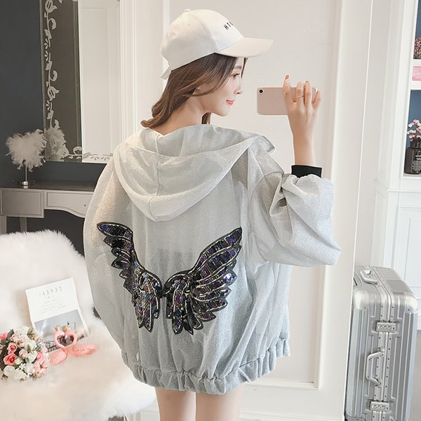 Hooded Sun Protection For Womens Cardigan Zipper Batwing Sleeve Bright Silk Sequined Thin Jackets Feminina Loose Sunscreen Coat
