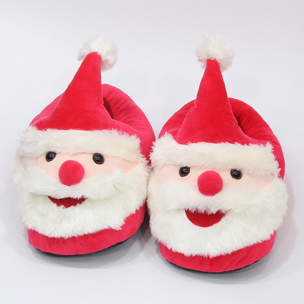 21cm Kids Santa Claus Plush Slippers cartoon Full heel Soft Warm Household Winter flip flop for children Kids Christmas Warm Shoes AAA1241
