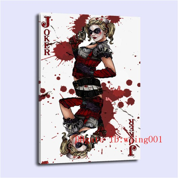 Clown Female Poker , Canvas Pieces Home Decor HD Printed Modern Art Painting on Canvas (Unframed/Framed)