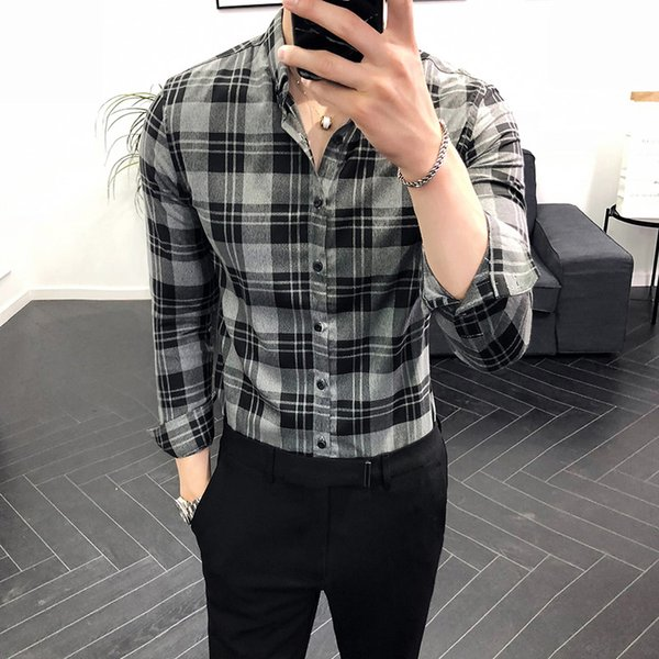 2018 autumn and winter models British wind long-sleeved shirt Korean version of the self-cultivation male god wild shirt