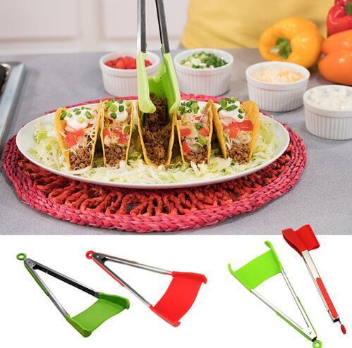 Tenaglie intelligenti 2 in 1 cucina spatola pinze antiaderente resistente al calore lavastoviglie sicuro cucina helper telaio pinze da cucina strumenti 2 pacco rosso verde