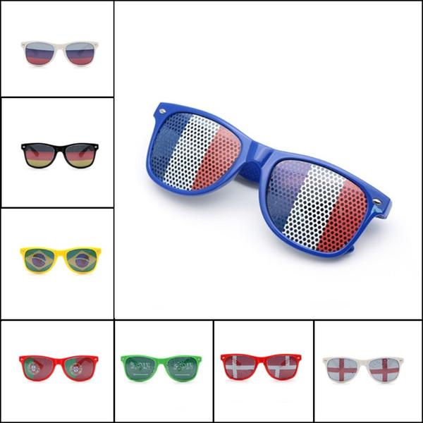 Bar Party Fan Lunettes de soleil Coupe du monde Lunettes Drapeau national Lunettes de soleil autocollant lunettes 36 couleurs en option T4H0485