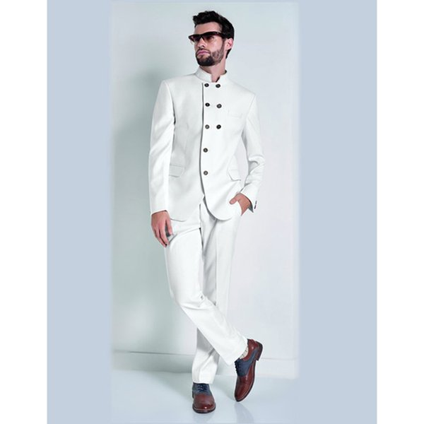 2017 New Stand Collar White Mens Suits Men's Formal Party Prom Wear Cool Men Tuxedos Slim men suit (Jacket+Pants+Tie)