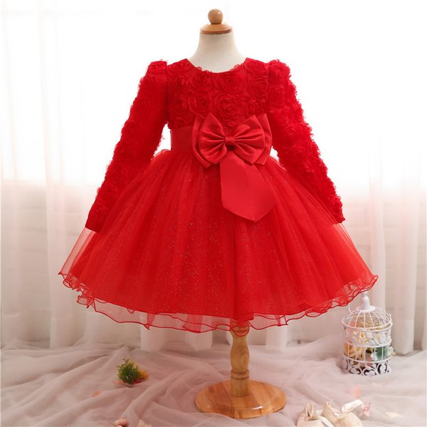2018 Winter Toddler 3d Flower Long Sleeve Infant First New Year Evening Wedding Gown Girl Clothes White Red Dress Baby Christmas