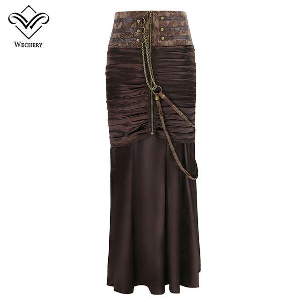 Falda del corsé gótico de las mujeres vestido encantador de la vendimia de la vendimia larga Steampunk cadenas elásticas plateadas espectáculos Club Dance adelgazar traje