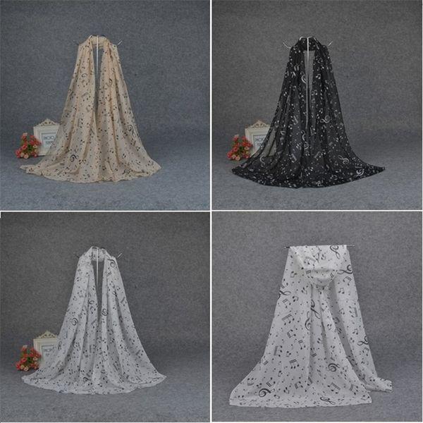 Femmes écharpes en mousseline de soie notes de musique écharpes de haute qualité écharpe imprimée 3 couleurs écharpe Châle enfant Châle T5C038