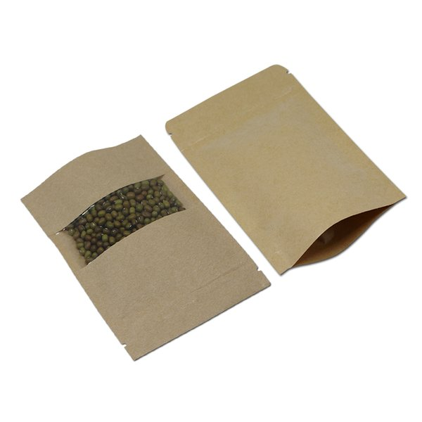 20Pcs 14x22cm Brown Zip Lock Foods Storing Package Bags Stand-up Bag Clear Window Self Sealable Kraft Paper Bags Moisture Proof
