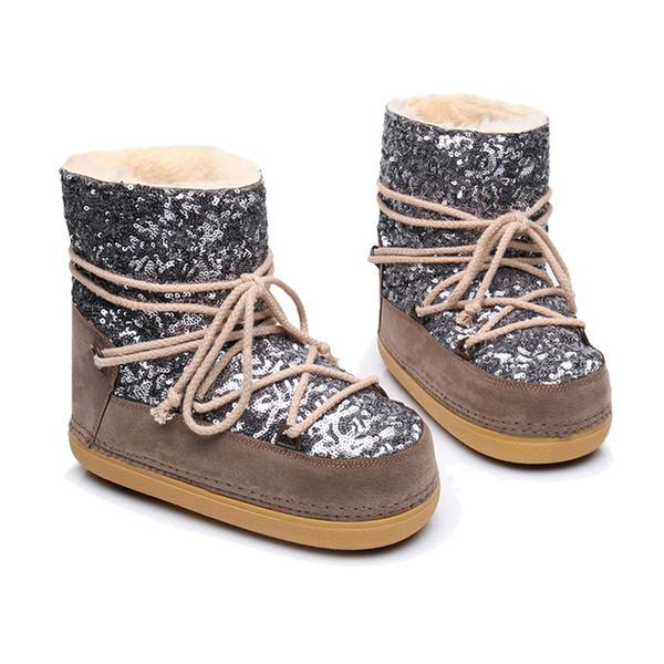 tinypari / Women Winter Snow Boots Ankle Warm Fur Shoes Female Platform Non Slip Bling Boot Woman Round Toe Plus Size Ladies Shoe FW245