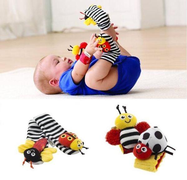 Lamaze Sock Baby Wrist Rattle and Foot Socks Bee Plush Toy Toddler Infant Toys (1set=2pcs wrist+2pcs socks)