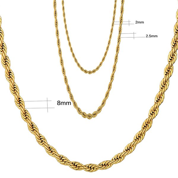79f12337a238d 2019 Hip Hop Rope Necklace For Men Heavy 24K Yellow Gold Plated Fine  Jewelry Long/Choker 2/2.5/8MM Wholesale Cuban Link Chain From Jj_jean,  $2.22 | ...