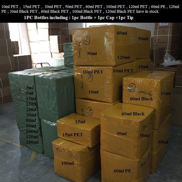 Бутылка Rich Styles PET PE Vape Oil 3мл 5мл 10мл 15мл 30мл 50мл 60мл 100мл 120мл Пластиковая капельница Черные флаконы с крышками для детей