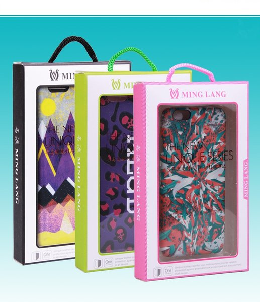 Top Cell phone Case Package Box with Blank PVC blister Paper Packaging Boxes For iphone 6 6s plus 7 7 plus