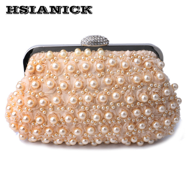 Champagner-Schwarz-weiße Farbe der Frau neue elegante Perlenentwurfs-Hochzeitsbraut-Parteibeutel-Handtaschenabend-Abendtasche Kupplung mit Kette