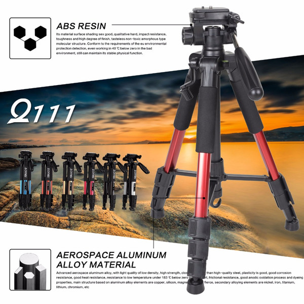 wholesale Q111 Professional Portable Travel Aluminum Camera Tripod&Pan Head for SLR DSLR Digital Camera