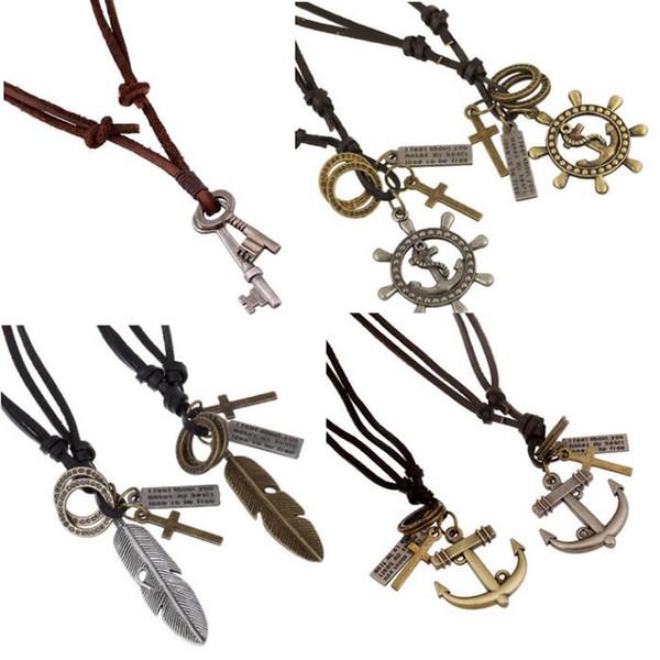 Adjustable Retro Genuine Leather Necklaces Pendants Vintage Handmade Cowhide Anchor Skull Charm Mens Pendant Necklaces Punk Fashion Jewelry