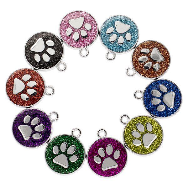 Sıcak satış Asın kolye 50 adet / grup Ayak Izi Bling Emaye Kedi Köpek / Ayı pençe Baskılar fit Dönen Anahtarlık Anahtar yüzükler çanta Takı Yapma HC459