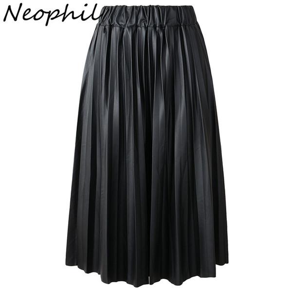 Neophil 2017 Зима дамы черный PU искусственной кожи юбки Midi плиссированные высокой талией старинные основные середины икры женщин Лонга Saia S1927