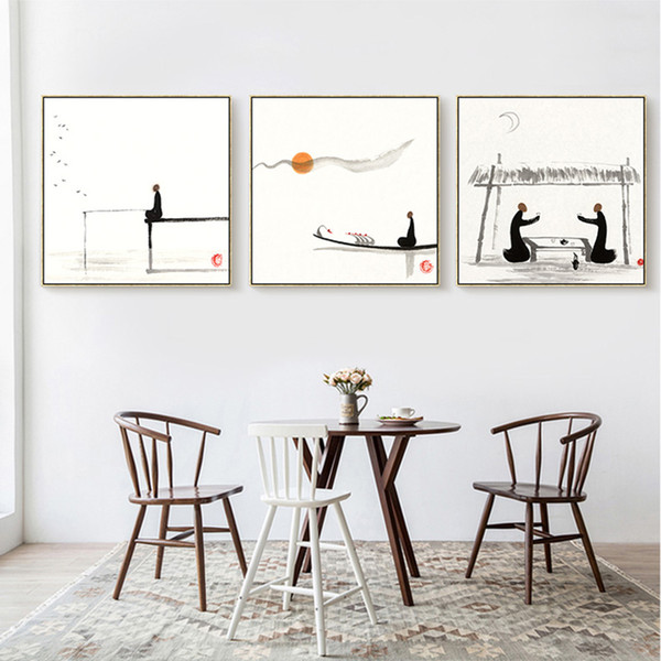 Chinese Culture Sunrise Fishing Black White Painting Canvas Picture Living Room Bedroom Wall Art Decoration Posters Frameless