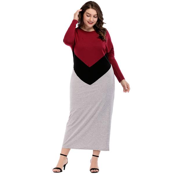 2018 Autumn Women Casual Long T-shirt Dress O Neck Long Sleeve Slim Maxi Dress Islamic Prayer Clothing M L XL XXL