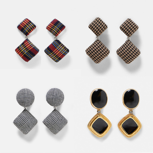 Girlgo Fashion Design Ethnic Plaid Covered Checked Drop Earrings Women Colorful Square Dangle Earrings Maxi Stetement Jewelry