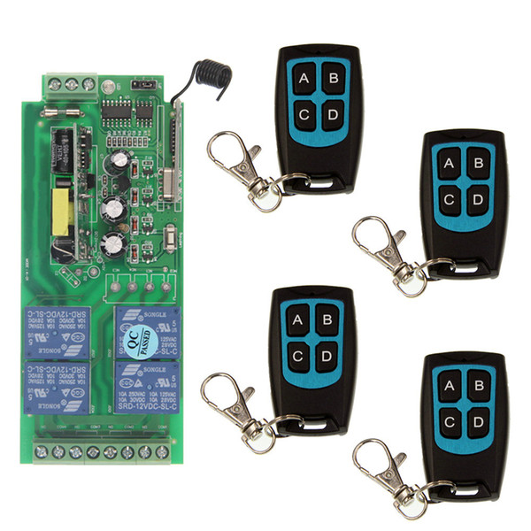 AC 85-265V 110V 220V 4CH 10A Relay RF Wireless Remote Control Switch Wireless Light Switch Receiver With Black Transmitter