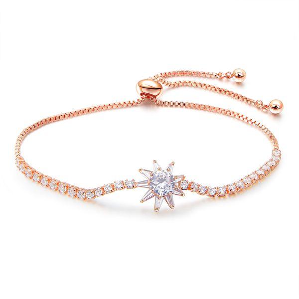 Sparking Cubic Zirconia Bracelet Adjustable Rose Gold Charm Bracelet for Woman Graduation Gift for Best Friends