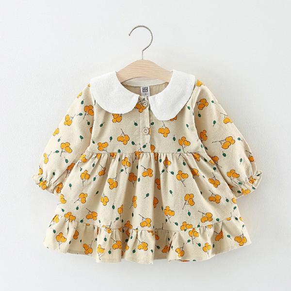 хлопок малыш девочка платье с длинным рукавом падение милый малыш девушка платья Новый 2018 осень детская одежда платье партии 1 2 3 лет