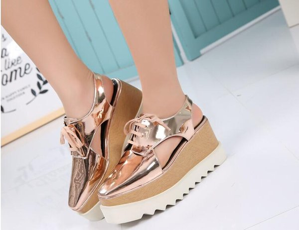 2018 Hollow out Fashion Woman Shoes Cut-out Lace-up Height wave Flat sole Sandals Casuals Sneakers Woman Shoes Zapatos Mujer Size 33-41