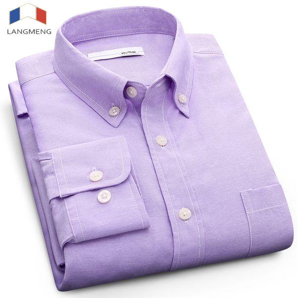 Langmeng plus size 5XL solid color Social dress shirt men long sleeve spring autumn mens oxford casual shirt camisa masculina
