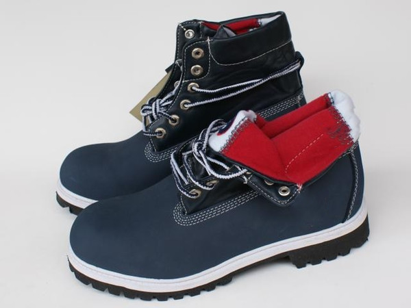 High Quality womens mens Timber roll top boots Blue red shoes for hiking work boots Luxury timber Brand Big Tree Log