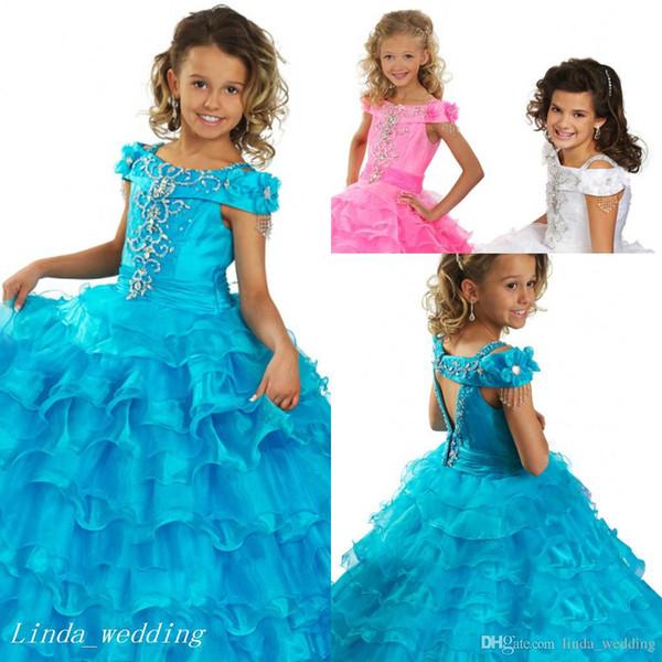 Chegada nova Azul Rosa Branco Meninas Pageant Vestido Princesa Frisada Babados Partido Cupcake Prom Vestido Para A Menina Curta Vestido Bonito Para O Miúdo