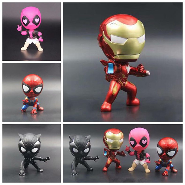 4 Designs 10cm Avengers Infinity War Superhero Action Figures Toys PVC Model Toys Iron Spiderman Black Panther Paty Favor CCA9729 12pcs