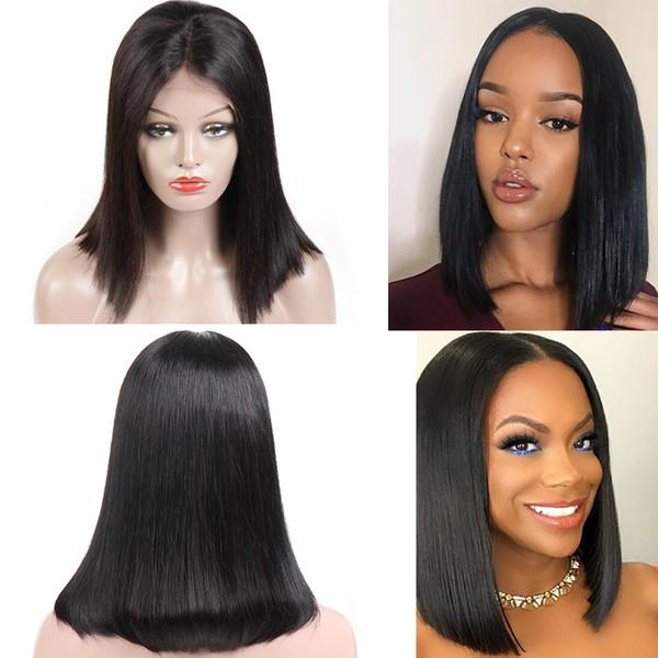 Parrucche di capelli vergini brasiliani non trasformati parrucche diritte del merletto del bob diritte parrucche nere del pizzo dei capelli umani di colore nero di Remy per le donne nere 8-14 pollici