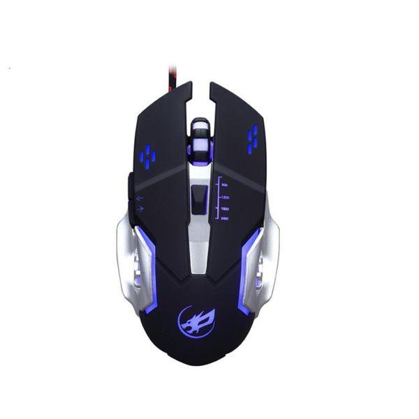 Avançada tecnologia de rastreamento óptico 7 Cores LED 3200 DPI 6 Botão Com Fio Macro Programação Definição Gaming Mouse Ratos