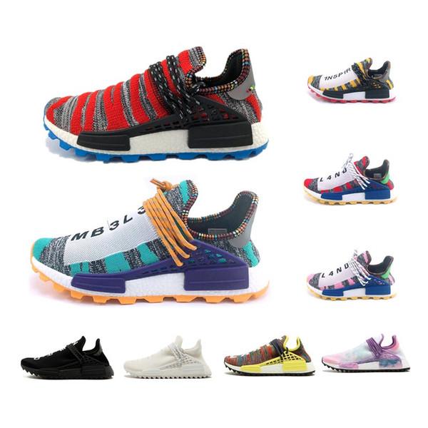 Menschliches Rennen Pharrell Williams Männer Laufschuhe Creme x NERD Solarpaket Afro Hu Schwarzer Nerd Herren Trainer Damen Sport Sneaker mit Box