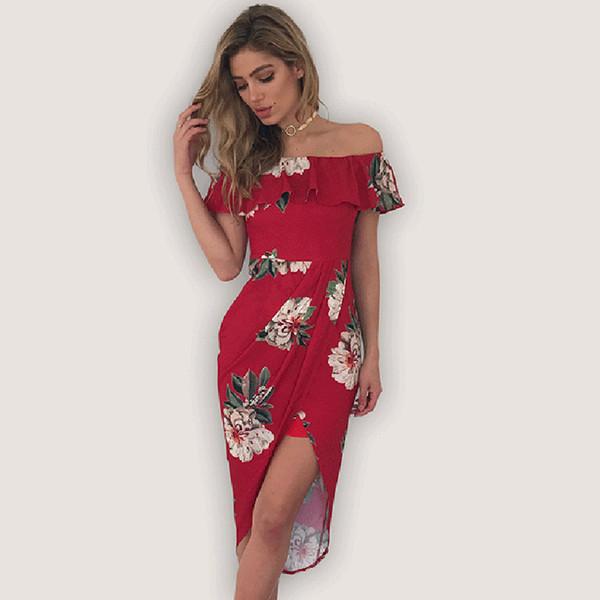 4eff3aa37b18f once 3.28 Asymmetrical Bohemian Long Women Sexy Off Shoulder Print Floral  Summer Lady Bodycon Ruffles Dress Plus Size XXL