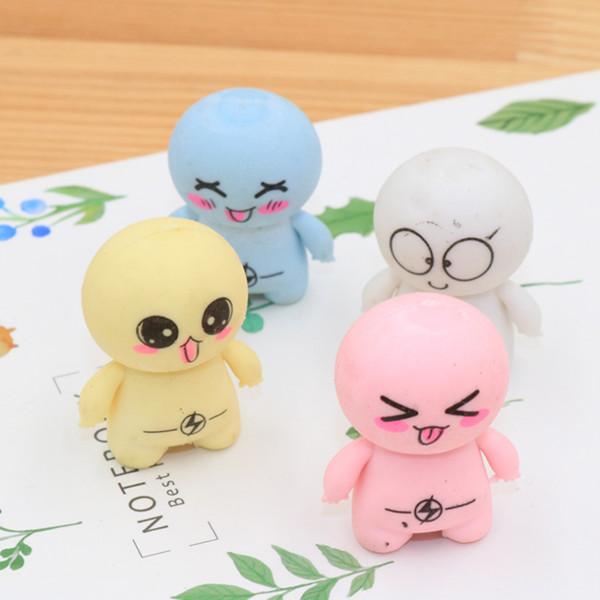 4 Unids / set Lovely Super Cartoon Big Head Doll Borrador Niños Aprendizaje de Papelería Kawaii Útiles Escolares Borrador de Regalo para los niños