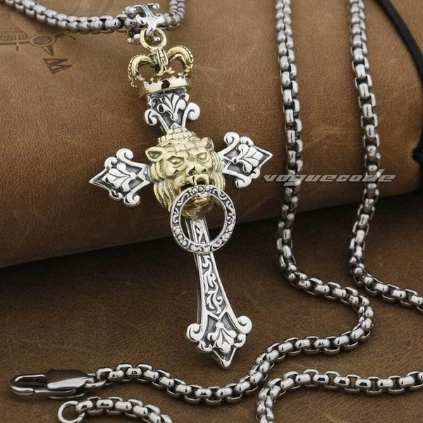 LINSION Rasta Gold Crown Lion Cross 925 Sterling Silver Mens Biker Pendant 9F023 Stainless Steel Necklace 24 inches