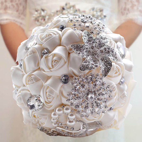 Wedding Decoration Supplies Hand Made Ivory Satin Roses Bright Diamond Flower Salable Product for Bride Bouquet Artificial Crystal Bride