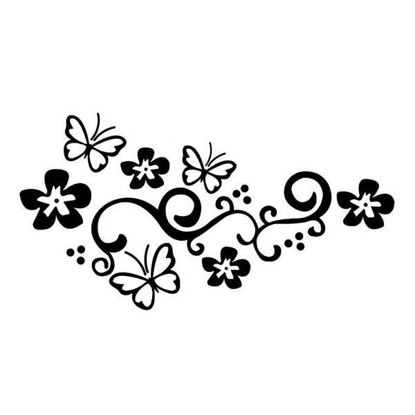 Stickers décoratifs de porte de voiture de 44 * 23.1CM papillon et fleurs autocollants réfléchissants de voiture de mode vinyle noir / argent CA-313