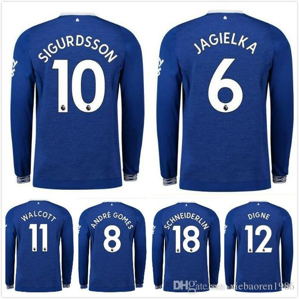 buy popular 20107 299c6 2018 18/19 Everton Long Sleeves Soccer Jersey 2019 Home 10 Rooeny Soccer  Shirt Cenk Tosun Walcott Sigurdsson Klaassen Keane Football Uniforms From  ...