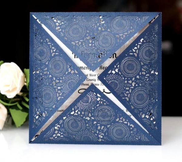 Colors Available 2019 Laser Cut Pocket Wedding Invitation Suites Customized Tri-fold Pocket wedding Invitation Card with rsvp envelope